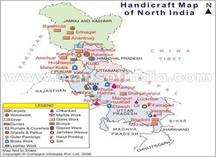 Handicrafts Map of India Map of Northern India